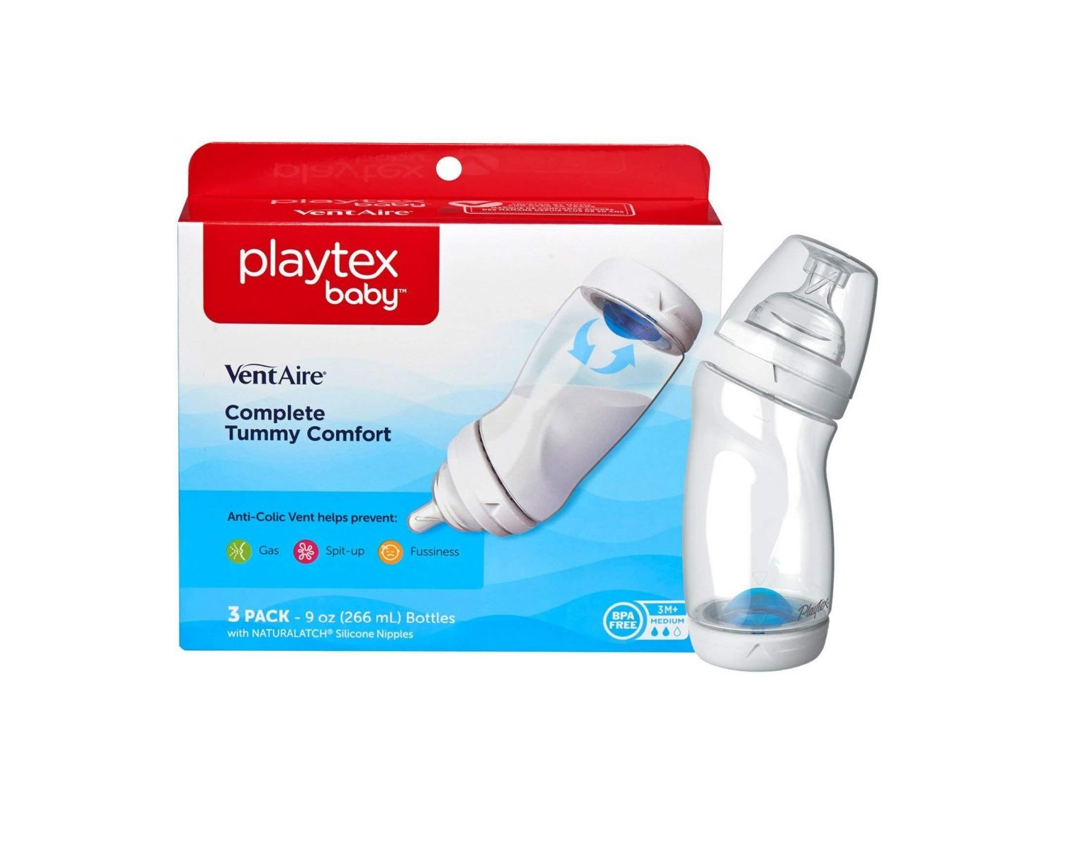 Playtex Baby Ventaire Anti Colic Baby Bottle 5 Pack 9 Ounce BPA Free